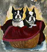Interpretive Paintings - Friends.  A pair of Boston Terrier Dogs Snuggle in a warm Basket. by Cathy Peterson