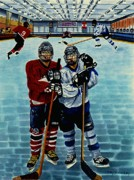 Goalie Painting Framed Prints - Friends and Foes Framed Print by Joy DiNardo Bradley         DiNardo Designs                     