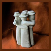 Clay Sculpture Posters - Friends Poster by Barbara St Jean