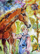 Overalls Painting Posters - Friends for Life Horses and Girls Poster by Ginette Callaway