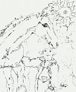 Wild Horses Drawings Metal Prints - Friends for Life Ink Drawing Metal Print by Ginette Callaway