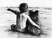 Beach Drawings Prints - Friends Forever Print by Natasha Denger