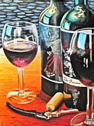 Wine Bottle Paintings - Friends from Napa by Tim Eickmeier