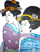 Sakura Paintings - Friends Geishas by Inna J