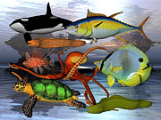Fishes Digital Art - Friends of the Sea by East Coast Barrier Islands Betsy A Cutler
