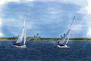 Sailboats In Water Prints - Friends Sailing Print by Barry Jones