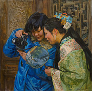 China Painting Framed Prints - Friends Framed Print by Victoria Kharchenko