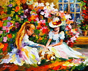 Sisters Paintings - Friends with a Dog by Leonid Afremov