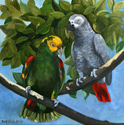 Amazon Parrot Paintings - Friendship by Bertica Garcia-Dubus