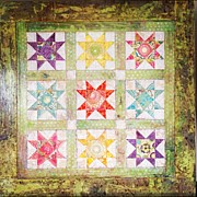 Log Cabin Art Mixed Media - Friendship quilt squares by Amy Wyatt