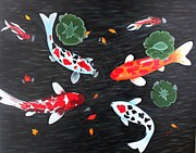Koi Painting Posters - Friendship Underwater Big Commissioned painting Poster by Georgeta  Blanaru