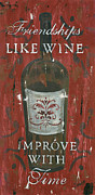 Red Prints - Friendships Like Wine Print by Debbie DeWitt