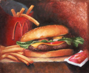 Hamburger Painting Metal Prints - Fries With That Metal Print by Timothy Jones