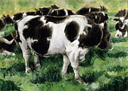 Pasture Scenes Painting Posters - Friesian Cows Poster by Gareth Lloyd Ball