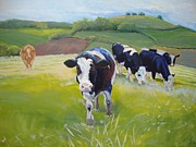 Bulls Painting Posters - Friesian Holstein Cows English Landscape Poster by Mike Jory