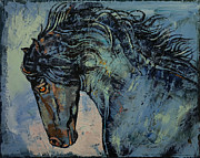 Black Stallion Paintings - Friesian Horse by Michael Creese