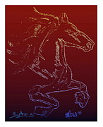 Glass Wall Drawings Posters - Friesian Sketch 1 Poster by Mark Ansier