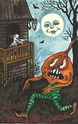 Moon Smiling Prints - Frightened Pumpkinhead Print by Margaryta Yermolayeva