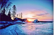 Temperance River Framed Prints - Frigid Temperance River Mouth Sunrise on Lake Superior Framed Print by Rory Cubel