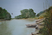 Swimming Hole Paintings - Frio River Solitude by Karen Butcher