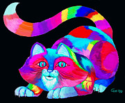 Colorful Animals Drawings Framed Prints - Frisky colorful Cat 2 Framed Print by Nick Gustafson