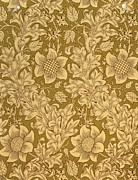 Green Foliage Tapestries - Textiles Prints - Fritillary wallpaper design Print by William Morris