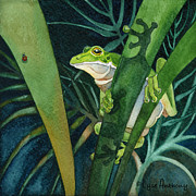 Frog Paintings - Frog and Bug by Lyse Anthony