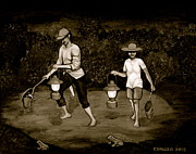 Csmaza Prints - Frog Hunters Black and White Photograph Version Print by Cyril Maza