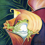 Watercolors Painting Framed Prints - Frog in Gold Calla Lily Framed Print by Lyse Anthony