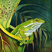 Pitcher Plants Posters - Frog in Pitcher Plant Poster by Lyse Anthony