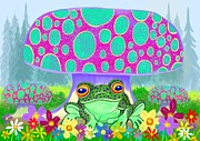 Frog Digital Art - Frog mushrooms and flowers by Nick Gustafson