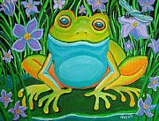 Purple And Green Posters - Frog on a lily pad Poster by Nick Gustafson