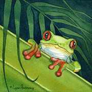 Frog Paintings - Frog Peek by Lyse Anthony