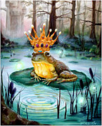 Cattails Framed Prints - Frog Prince Framed Print by Heather Calderon