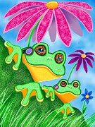 Nick Gustafson Art - Froggies and Flowers by Nick Gustafson