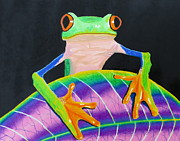 Tree Frog Pastels Prints - Froggy Print by David Perfors
