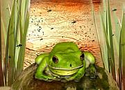 Amphibian Posters - Froggy Heaven Poster by Holly Kempe