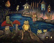 Tales Framed Prints - Frogland Framed Print by Leah Saulnier The Painting Maniac