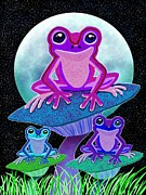 Nick Gustafson Prints - Frogs in the Moonlight Print by Nick Gustafson