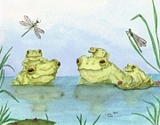 Dragonflies Art - Frogs Pond Dragonflies Cathy Peek Wildlife Art by Cathy Peek