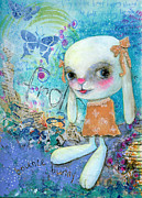 Shirley Mixed Media - Frolic Bunny by Shirley Dawson