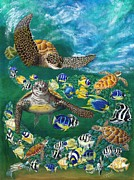 Sea Turtles Painting Originals - Frolicking in the Surf by Vanuel Robertson