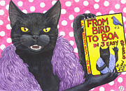 Wicked Kitty Metal Prints - From Bird to Boa Metal Print by Catherine G McElroy