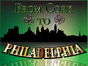 Cork Digital Art Framed Prints - From Cork To Philadelphia Framed Print by Ireland Calling