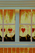 Curtain Digital Art Prints - From French Riviera Window With Love Print by Ben and Raisa Gertsberg