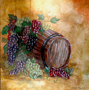 Wine Barrel Paintings - From grape to barrel by Nora Niles