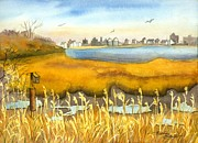 York Beach Painting Metal Prints - From Jamaica Bay Looking at Rockaway Metal Print by Madeline  Lovallo