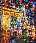 Moscow Painting Metal Prints - From Moscow to Paris Metal Print by Leonid Afremov