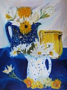 Pottery Pitcher Painting Prints - From My Pitcher Collection Print by Cindy Lawson-Kester