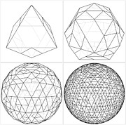 Icosahedron Digital Art - From Octahedron To The Ball Sphere Lines Vector  by Nenad  Cerovic